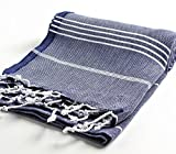 "Cacala 100% Cotton Pestemal Turkish Bath Towel, 37 x 70"", Dark Blue - 1011101073835010"