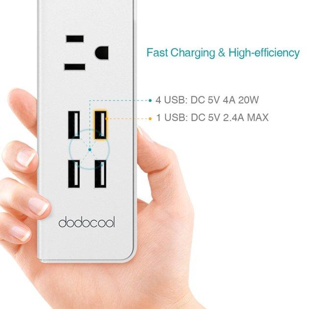 dodocool 電源タップ 5V 2.4A 4ポートUSB付き コンセントタップ(3個) スマート3 AC 交流電源 4.59 フィートコード ホワイト