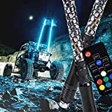 2pc 4ft Spiral LED Whip Lights w/Flag [21 Modes] [20 Colors] [Wireless Remote] [Weatherproof] Lighted Antenna Whips - Accessories for ATV Polaris RZR 4 Wheeler