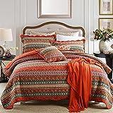 Lecoda Cotton Jacquard Style Bohemian Reversible Patchwork Bedspread Quilt Sets Queen Size Bedspread Bohemian Quilt (Red Bohemian)