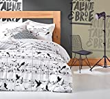 LaModaHome 3 Pcs Luxury Soft Colored Full and Double Bed Size Bedroom Bedding 65% Cotton Quilt Duvet Cover Set Music Note Bird Straight Line Black White Background Note Black White
