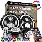 7' RGB Halo LED Headlights + 4' Fog Lights for Jeep Wrangler 1997-2018 JKU JK Rubicon TJ LJ