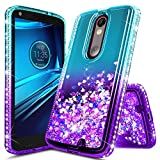 Droid Turbo 2 Case, NageBee Glitter Liquid Quicksand Waterfall Floating Flowing Sparkle Shiny Bling Diamond Girls Cute Case Designed for Motorola Droid Turbo 2 (Verizon XT1585) -Aqua/Purple
