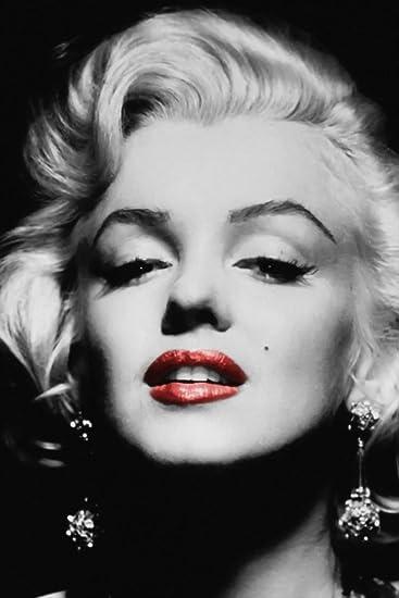 Com Marilyn Monroe Black White Red Lips Poster 20x30