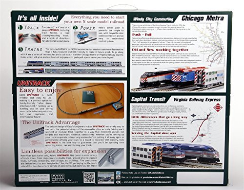 Kato-USA-Model-Train-Products-N-MP36PH-and-Gallery-Bi-Level-Commuter-Series-Chicago-Metra-UNITRACK-Starter-Set