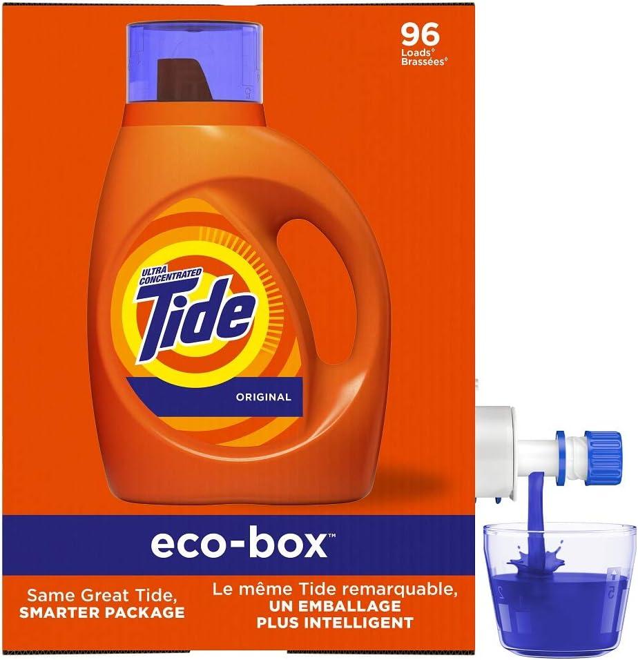 Amazon Com Tide Laundry Detergent Liquid Eco Box Concentrated Original Scent 105 Oz He Compatible 96 Loads Health Personal Care