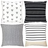 """Decorative Throw Pillow Covers For Couch, Sofa, or Bed Set Of 4 18 x 18 inch Modern Quality Design 100% Cotton Stripes Geometric """"Atlas Set"""" by Woven Nook"""