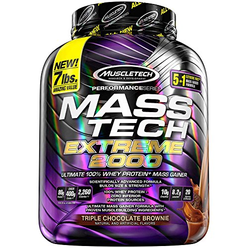 Muscletech Mass Tech Extreme (Post-Workout, 80g Protein, Over 400g Carbs, 2330 Calories) – 7 lbs (3.17 kg) (Triple Chocolate Brownie)