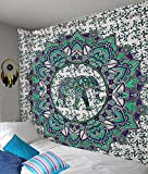 Mandala Decor Elephant Tapestry, geometry pattern wall hanging, Indian printed hippie sacred tapestries Blue