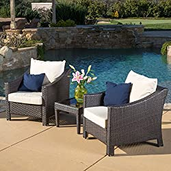 Jones Outdoor 3-piece Brown Wicker Bistro Set with Cushions
