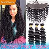Cheap 8A Brazilian Virgin Human Hair Bundle Deep Wave And 13x4 Frontal Pre Plucked Best Peruvian Indian Weave Deals Ear to Ear Swiss 4x13 Lace Closure With Baby Hair 2 Bundles of 10 12 With 10 inch