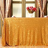 """Eternal Beauty Sequin Tablecloth, Sequin Table Linen, 48""""x48"""", Square, Gold"""