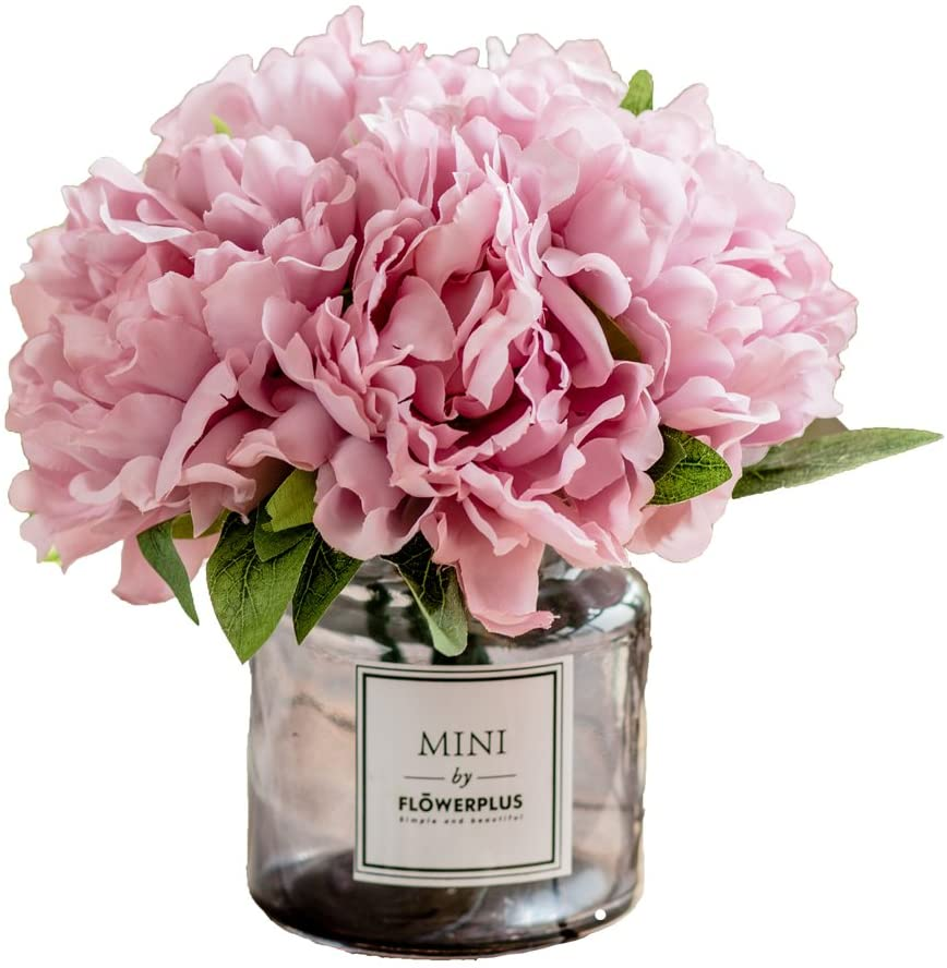 Fresh Home Artificial Flowers With Vase Fake Peony Flowers In Gray Vase Faux Flower Arrangements For Home Decor Light Lilac Small Amazon Ca Home Kitchen