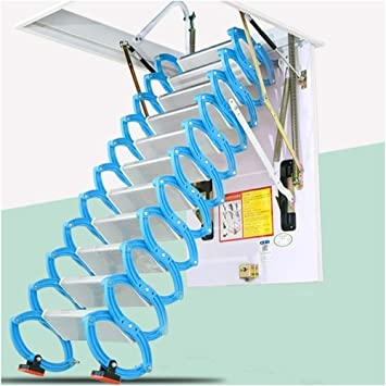 Ceiling Retractable Ladder Invisible Loft Stairs Pull Down Alloy   Folding Loft Stairs With Handrail   Circle Stair   Design   Limited Space   Stairway Osha   Semi Automatic