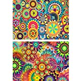 2 Pack DIY 5D Diamond Painting Kit Full Drill Round Rhinestone Embroidery Pictures Arts Craft for Home Wall Decoration, Mandala Kaleidoscope(16×12inch)