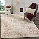 Safavieh Adirondack Collection ADR109H Ivory and Rose Oriental Vintage Distressed Area Rug (5'1' x 7'6')