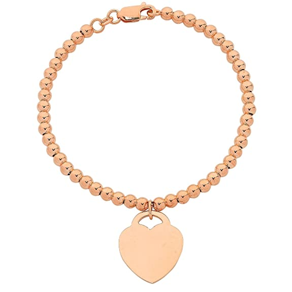 Bevilles 9ct Rose Gold Silver Infused Bracelet with Heart Charm