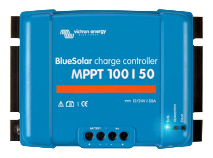 BlueSolar MPPT 100/50 We have two of these 50amp solar charge controllers on our bus – one for our roof solar, and for our ground deploy panels.  (Victron supplied these to us for beta testing)