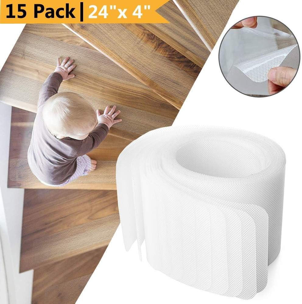 Amazon Com Yisun 15 Pack Non Slip Stair Treads 24 X 4 Anti Slip   Amazon Outdoor Stair Treads   Non Slip   Self Adhesive   Mat   Treads Carpet   Indoor Outdoor
