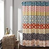 Lush Decor Bohemian Striped Shower Curtain Colorful Bold Design, 72' x 72', Turquoise and Orange