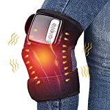Heated and Vibration Massage Knee Brace Wrap, HailiCare 3 in 1 Rechargeable Wireless Electric Massager for Knee Shoulder Elbow - Enjoy Joint Pain Relief Anywhere, Single Pack Fit for Men (Single Pack)