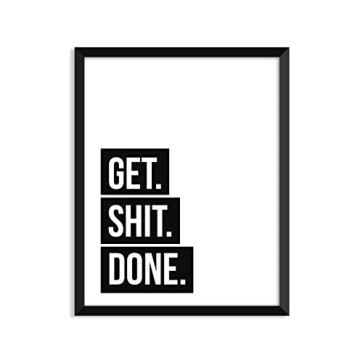 Get Shit Done Black Tape - Unframed art print poster or greeting card