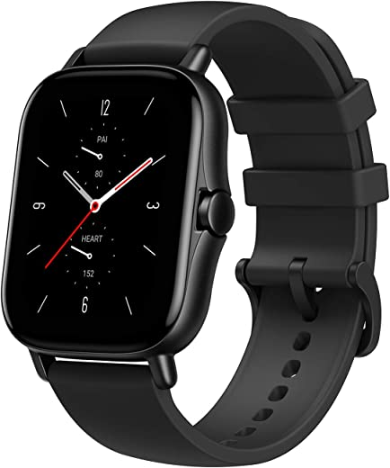 """Amazfit GTS 2 Smartwatch with 1.65"""" AMOLED Display, Built-In GPS, 3GB Music Storage, 7-Day Battery Life, Bluetooth Phone Calls, 90 Sports Modes, Health Tracking, Water Resistant, Black"""