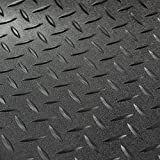 RV Trailer Diamond Plate Pattern Flooring | Black | 8' 2' Wide | Rubber Flooring | Garage Flooring | Gym Flooring | Toy Hauler Flooring | Car Show Trailer Flooring (Black, 10')