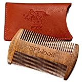 BFWood Pocket Beard Comb - Sandalwood Comb with Leather Case