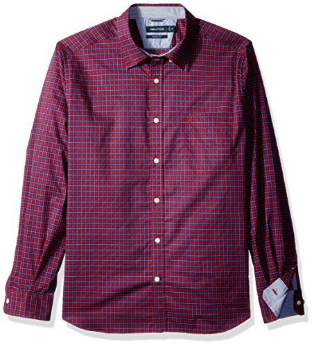 61LC3UAc2dL Wrinkle-resistant finish and a plaid pattern Button-front styling with a buttoned collar Long sleeves with adjustable double-button cuffs