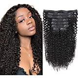 Sibaile Kinky Curly Clip ins Human Hair, Real Thick, Double Weft, 8A Virgin Remy Human Hair 3C 4A Type, Kinkys Curly Clip in Hair Extensions for Women, Natural Color 120g 8Pcs/Set with 18 Clips 16Inch
