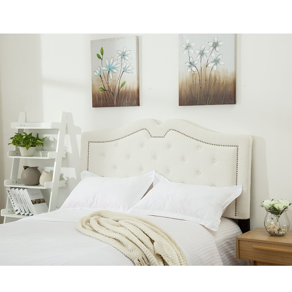 Amazon Com Haobo Upholstered White Velvet Tufted Headboards For Queen Full Size Beds With Solid Wood Legs And Nails Trim