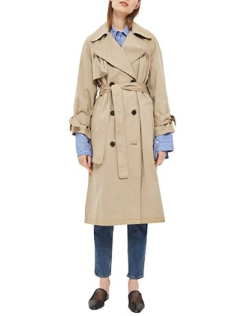 Simplee Women's Autumn Casual Loose Double Breasted Long Trench Coat with Belt