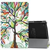 MoKo Case for All-New Amazon Fire HD 8 Tablet (7th/8th Generation, 2017/2018 Release) -Lightweight Slim Shell Stand Cover with Translucent Frosted Back for Fire HD 8, Lucky TREE (with Auto Wake/Sleep)