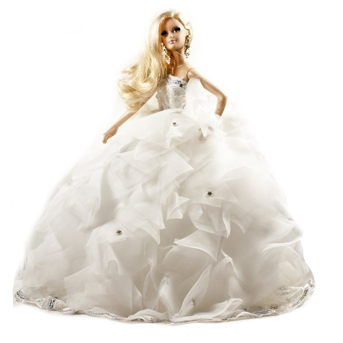 Barbie Softly Lush layered ruffles strapless lace tulle ballgown wedding dress w/ Silver Stones