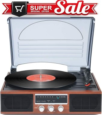 SeeYing Record Player with Vintage Speakers