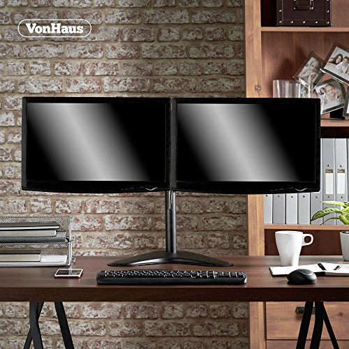 "61Lakiqb8CL - VonHaus Dual Monitor Stand for 13-32"" Screens - Double Arm Desk Mount Bracket - Ergonomic ±180° Tilt, 360° Rotation & Twin 360° Swivel Arms - VESA Dimensions: 75x75-100x100"