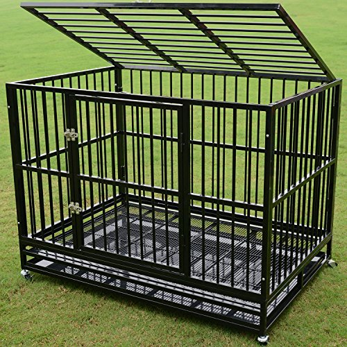 Walcut Heavy Duty 48' Rolling Double Door Black Strong Metal Pet Dog Cage Crate Cannel Playpen w/Wheels