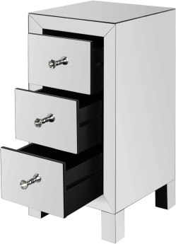 Bonnlo 3-Drawer Mirrored Nightstand End Tables Bedside Table for Bedroom
