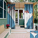 leinuoyi Bear, Outdoor Curtain Set of 2 Panels, Polar Bear with Christmas Hat and Scarf Ice Skating Ornamental Snowflakes and Swirls, Fabric by The Yard W120 x L96 Inch Blue White