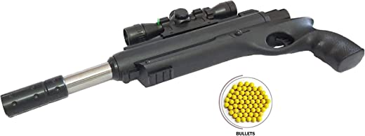 Amitasha Round Barrel Toy Gun for Kids with Bullets and Laser Light (6mm Plastic Bullets)