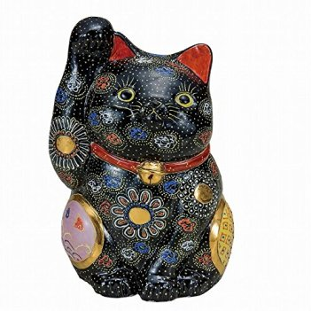 Jpanese traditional ceramic Kutani ware. Lucky charm ornament. Beckoning cat. Black mori. With paper box. ktn-K5-1591
