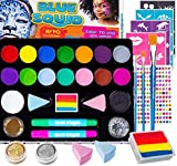 Face Paint Kit for Kids - Jumbo Stencils, 16 Large Paints, Rainbow Cake, 168 Gems, 2 Hair Chalk Pens 3 Professional Brushes 2 Glitter Quality Body Painting Set Halloween Makeup Safe for Sensitive Skin