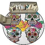 Sugar Skull,Carpet mat Different Types of Skulls Rich and Colorful Ornaments Roses Border Carnival D66 Long Kitchen Mat Bath Carpet