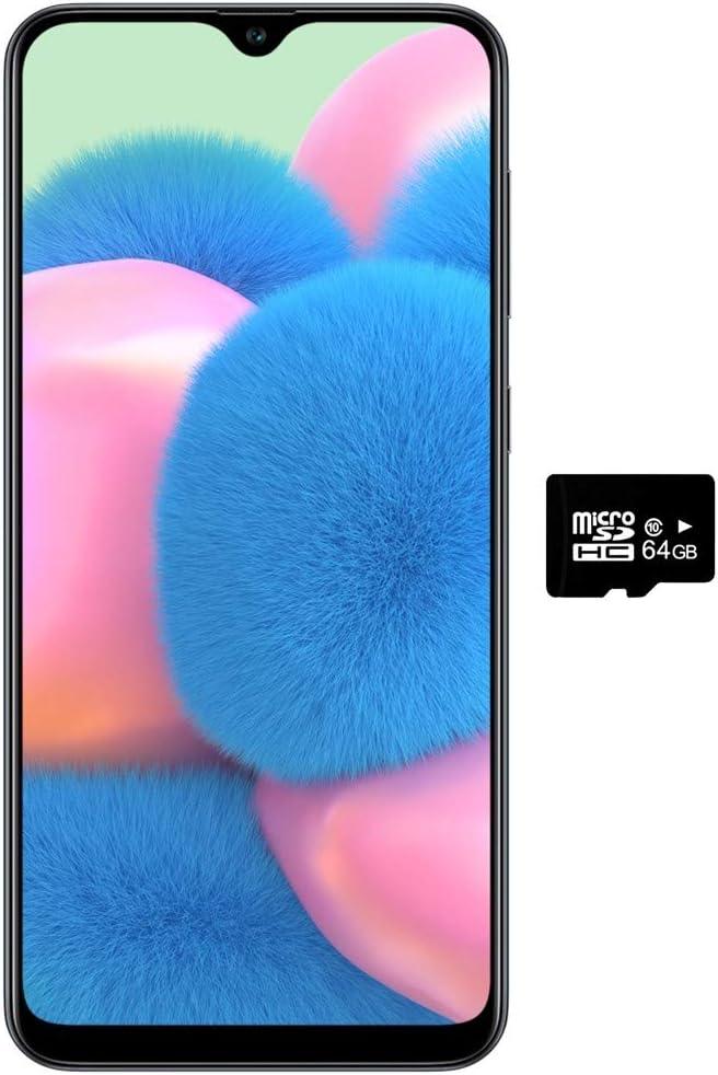 "Samsung Galaxy A30S w/On-Screen Fingerprint (64GB, 4GB) 6.4"", Triple Camera, Dual SIM GSM Unlocked A307G/DS - US + Global 4G LTE International Model (64GB + 64GB SD + Case Bundle) (Black)"