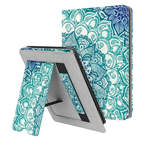 Fintie Stand Case for Kindle Paperwhite (Fits All-New 10th Generation 2018 / All Paperwhite Generations) - Premium PU Leather Protective Sleeve Cover with Card Slot and Hand Strap, Emerald Illusions
