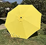 BELLRINO DECOR Replacement YELLOW ' STRONG AND THICK ' Umbrella Canopy for 9ft 8 Ribs YELLOW (Canopy Only)