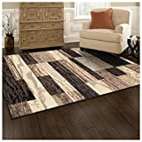 Superior Modern Rockwood Collection Area Rug, 8mm Pile Height with Jute Backing, Textured Geometric Brick Design, Anti-Static, Water-Repellent Rugs - Chocolate, 2' x 3' Rug