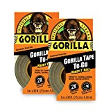Gorilla Tape, Mini Duct Tape To-Go, 1' x 10 yd Travel Size, Black, (Pack of 2)