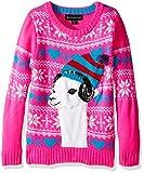 Blizzard Bay Girls' Little Lama Wearing Headphones Christmas Sweater, Pink/White/Blue, XL 6X
